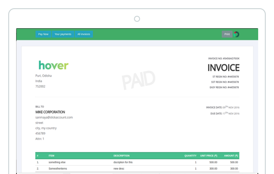 SlickAccount Invoice payment